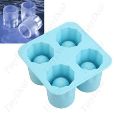 4 Cups Set Food-Grade Silicone Cool Shooter Ice Cube Shot Glass Shaped Tray Mold Maker HLI-13403