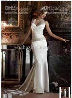 Wholesale 2012 Celebrity Design Sexy Charmeuse V-Neck Halter w/ Ruched Surplice Bodice Beadings Wedding Dress, Free shipping, $89.6-134.4/Piece | DHgate