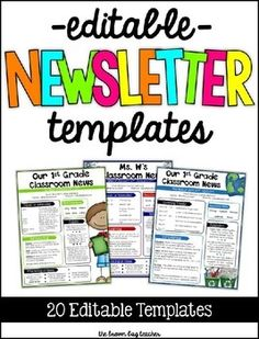 Routinely changing the appearance of newsletters keeps families engaged and keeps them reading about our classrooms. It is so frustrating to spend the time creating a newsletter only to have families not read it! In this resource, youll find 20 different newspaper templates to keep your classroom news fresh and interesting!In this pack, Ive included templates for each month of the school year (back to school, apples, Halloween, Thanksgiving, Christmas, snowman, snow, Valentines Day, St.