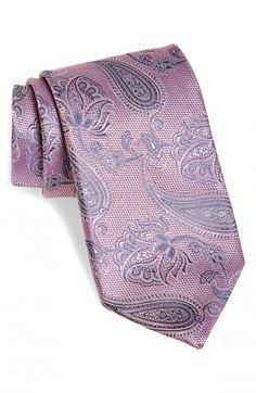 Canali Paisley Woven Silk Necktie Pink Regular | Neckwear and Accessory