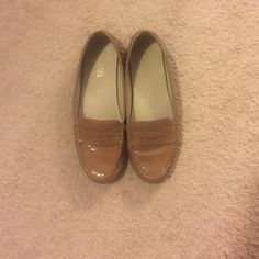 MICHAEL KORS patent leather nude loafers I got these in January, and they're great but a little too big on me so I want to pass them on. You've been warned that they're an 8 that runs a little large. please make an offer!  Michael Kors Shoes Flats & Loafers