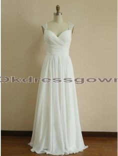 Cap Sleeves Empire Chiffon Affordable Sweet Heart White bridesmaid dress with Beads