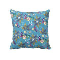 Blue Pinwheel Flowers Throw Pillow