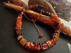 Купить Колье Медовое(необработанный янтарь ,яшма,кокос) - рыжий, Янтарный, прозрачный, Необработанный янтарь