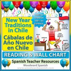 A guide to New Year's Eve traditions in Chile with a reading passage in Spanish (containing comprehension questions) and 4 versions of a wal...