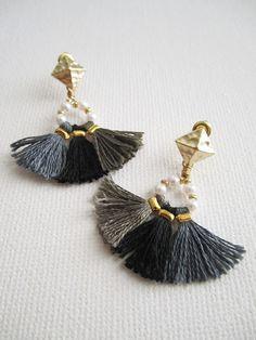 Bead tassel earrings Boho earrings Gypsy by MiniTasselDesigns