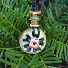 Mango Green Tea  Enamelled Copper and Lampwork Pendant by ReasonablyRustic, $30.00