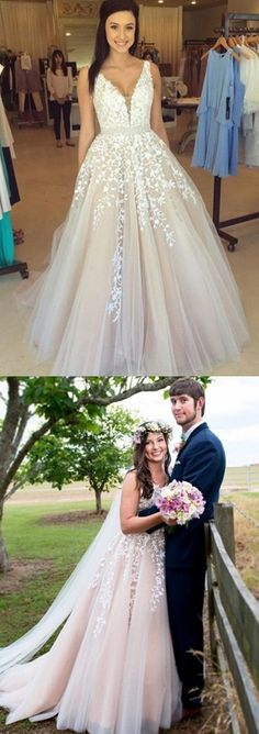 long prom dress, wedding dress, fall wedding dress, white lace wedding dress Stunning V-neck Sleeveless Sweep Train Lilac Prom / Wedding Dress with White Appliques