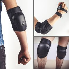 Black elbow knee pads #wrist guard protective gear set for #skateboard #skating,  View more on the LINK: 	http://www.zeppy.io/product/gb/2/322140337317/