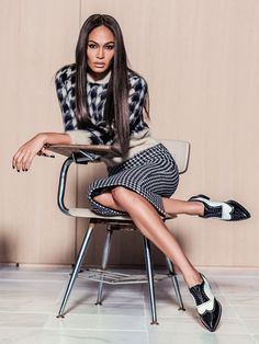 Smile: Joan Smalls in Vogue Mexico September 2015 by Russell James..... one of my favorite things about fall fashions is ALWAYS houndstooth