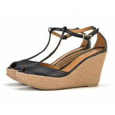 Taramay T-bar Wedge Sandals in Black