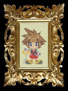 Kingdom Hearts Cross Stitch Pattern - Sora - Beginner 14ct Aida