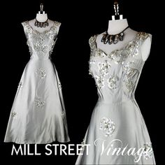 Vintage 1950s Silver Gray Satin Beaded dress