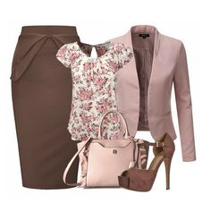 303adb7afcef6 A brown pencil skirt and an open front blazer in rose blends beautifully.  Add a