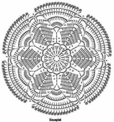 Angel's Garden Doily pattern by Chinami Horiba Irish Crochet Patterns, Granny Square Crochet Pattern, Crochet Diagram, Crochet Round, Crochet Chart, Crochet Home, Thread Crochet, Crochet Granny, Crochet Motif