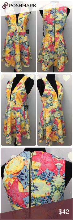 NBD X Naven Twins Mini Skater Dress Colorful NBD X Naven Twins Mini Skater Dress Colorful Plunge Size M NWT. Brand New with tag sexy gorgeous flair dress by NBN X the Raven Front Deep V Plunge with back zipper.  Shell and lining is made of polyester  This dress never been worn nor tried  Measurement might be off couple inches, its taken flat: Length: 32 Armpit across: 16.5 NBD X  Dresses Midi