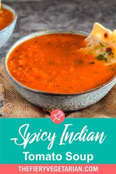This spicy Indian tomato soup (also known as tamatar ka shorba) recipe is easy, vegan, homemade, and low-calorie. Quick and healthy, it comes together in just 15 minutes for the best light meal or side you'll ever have! Make it today and pair it with crusty fresh bread or garlic naan, or ladle over a good biryani. Vegetarian Masala, Spicy Vegetarian Recipes, Vegan Indian Recipes, Delicious Vegan Recipes, Vegetarian Lunch Ideas For Work, Easy Vegan Lunch, Vegan Lunches, Clean Eating Recipes, Lunch Recipes