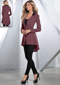 LONG RUFFLE BACK BLAZER, SEAMLESS CAMI, SLIMMING STRETCH JEGGING, PEEP TOE ANKLE STRAP HEEL