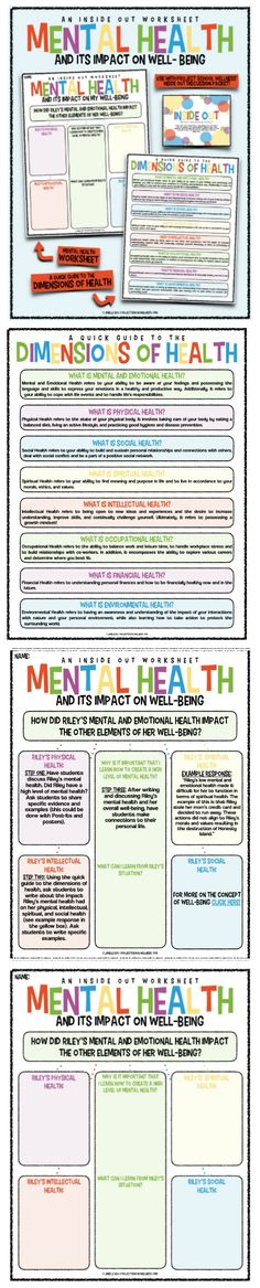 Every health teacher and school counselors needs this mental health worksheet! Use the magic of Inside Out to teach kids about mental health and how to thrive! This Inside Out lesson plan can be use in any middle school health classroom! Health Teacher, Health Literacy, Health Activities, Health Education, Health Class, Health Unit, Health Lesson Plans, Health Lessons, Health Tips