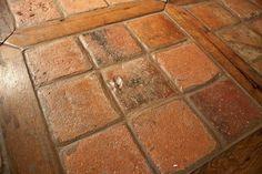 Antique Reclaimed French Terracotta Oak Floor Inlay mediterranean kitchen