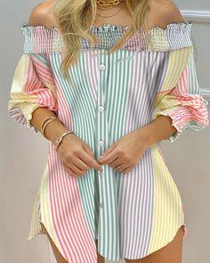 Striped Long Sleeve Shirt, Long Sleeve Shirt Dress, Blouse Dress, Long Sleeve Shirts, Trend Fashion, Look Fashion, Fashion Outfits, Womens Fashion, Como Fazer Short