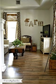 our vintage home love: Den and New Wood Floor