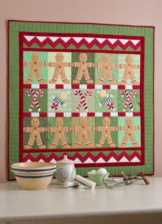 Cute gingerbread and candy cane quilt allaboutapplique.com