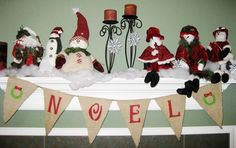NOEL Burlap Banner Bunting Garland Pennant-We Do Custom Banners-Your Words-Your Color. $20.00, via Etsy.