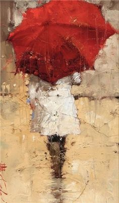 """Into The Rain"" by Andre Kohn, oil on canvas. Andre kohn was born in Russia. After moving to America in it took very little time for American art audiences and the media to discover the mature, fresh figurative painting style depicted by Kohn. Art And Illustration, Umbrella Art, Umbrella Painting, Art World, Love Art, Oeuvre D'art, Painting & Drawing, Amazing Art, Oil On Canvas"