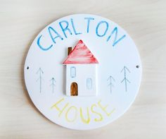 Custom ceramic house sign by Noe Marin // Made to order https://www.etsy.com/listing/245525547/custom-ceramic-house-sign-made-to-order?ref=shop_home_active_20