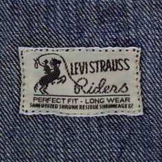 Vintage Levis Jacket, Vintage Denim, Levi's Brand, Riders Jacket, Japanese Denim, Denim Branding, Vintage Labels, Levis Jeans, Vintage Outfits