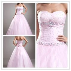 New Beaded Quinceanera Formal Prom Party Ball Gown Wedding Dresses Custom  #Handmade #BallGown #Formal