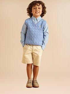 Lil' Prep!  Ralph Lauren Little Boy's Cable knit vest  Blake shirt  Preston shorts  Oxfords....Imma DRESS my Son like a LITTLE MAN juuust like my Deaddy did with ME! HAAHAA! /B)