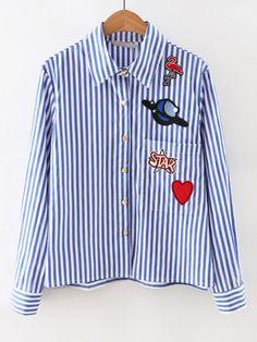 #AdoreWe #ROMWE Blouses - Designer ROMWE Blue Long Sleeve Applique Stripe Blouse - AdoreWe.com