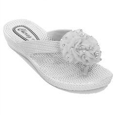 Sapphire Damen Flip Flop Sandalen Komfort Corsage Niedriger Absatz Strass Blume - Synthetik, EU 36, Gold