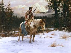 Ashley's Art Gallery - The Lonely Sentinel by Howard Terpning, $389.00 (http://ashleyart.com/the-lonely-sentinel-by-howard-terpning/)
