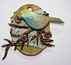 Life is a Song Bird Pendant  by syndee holt for Polyform #Polymer #Clay #Tutorials