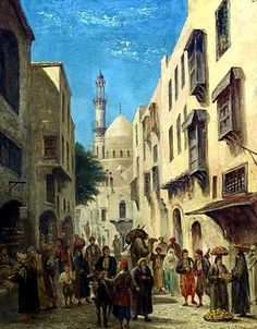 A Street in Cairo, by Edward Goodwyn Lewis (British, 1827-1891)  Oil on canvas 51 x 41c