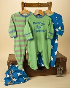3 Pack Baby Boy Star Sleepsuits - Baby Boys Clothes