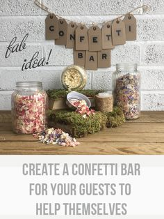 Create A Wedding Confetti Bar For Your Guests available to buy online from @theweddingomd create-a-confetti-bar-for-your-guests-to-help-themselves-by-theweddingomd