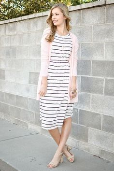 Chelsea Stripe Fit and Flare Dress in Ivory - My Sisters Closet #churchoutfits
