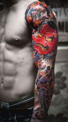 #tattoo #ink full japanese sleeve. Blossoms. Mask.