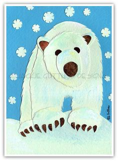 Polar bear art Original Christmas polar by JackieGuttusoDesigns, $30.00