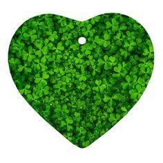 Shamrock+Clovers+Green+Irish+St++Patrick+Ireland+Good+Luck+Symbol+8000+Sv+Heart+Ornament+(2+Sides)+Heart+Ornament+(Two+Sides)