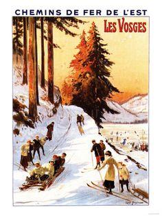 Les Vosges. Affiche ancienne.
