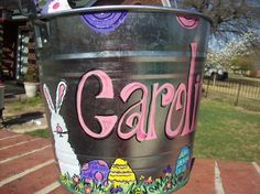 Hand painted Easter Basket/Bucket Bow Bunny | Gardens, Mom and Spring