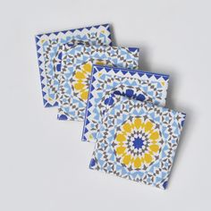 This bright Spanish-style coasters have a cheerful look. Sevilla Coasters by Tilissimo at The Livingetc Edit at Clippings.