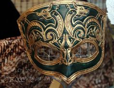Handmade Leather Mask -  Celtic Knot Work- the Hounds. $140.00, via Etsy.
