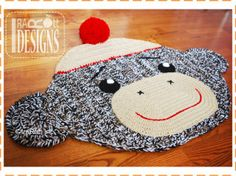 crochet sock monkey rug