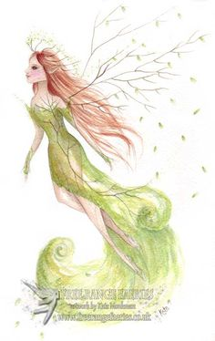 Lady of the Forest/Faerie art/Fairy art/Watercolour faerie/ Forest/Woodland/Nature Fairy/Falling leaves/Art Print by FreeRangeFaeries on Etsy